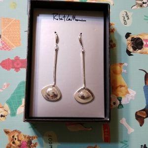 Silver Chrome Robert Lee Morris Dangle Earrings